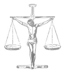 Jesus crucified on scales of justice